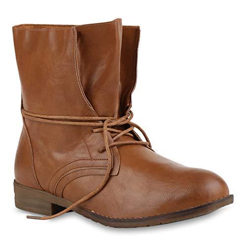 Stiefelparadies Damen Schnürstiefeletten Übergrößen mit Blockabsatz Flandell, Braun, 40 EU