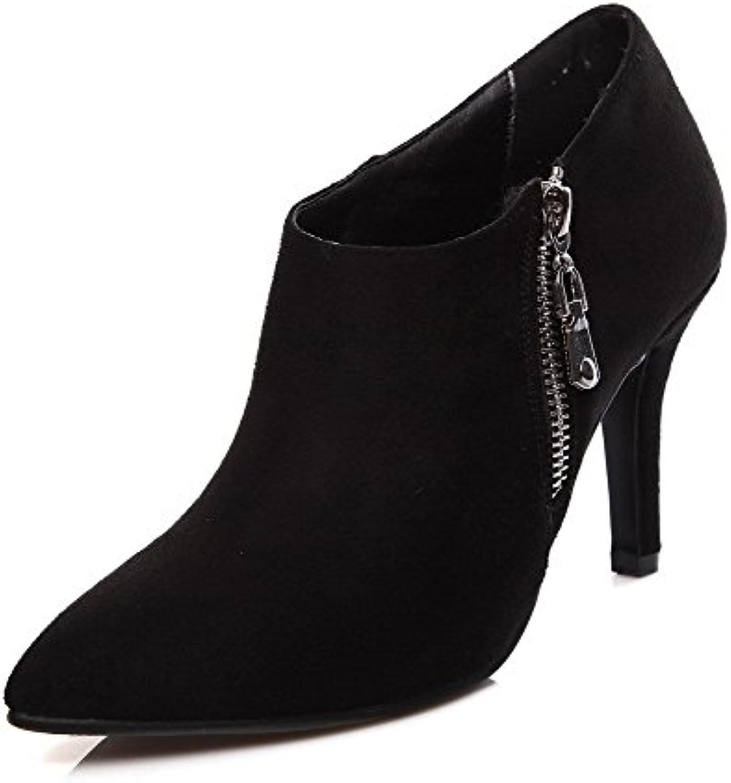 AalarDom Damen Stiefel Knöchel Hohe Stiletto Reißverschluss Stiefel Damen d541c1