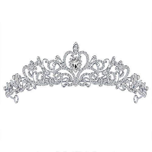 Krone Silber Hochzeit Kopfschmuck mit kristall Geschenk für Frauen mädchen Muttertag Hochzeit ()