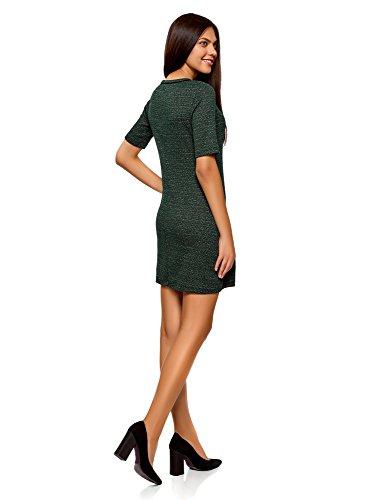 oodji Ultra Damen Jersey-Kleid mit Zickzack-Muster Grün (6929J)