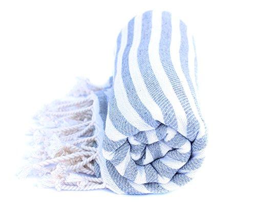 Premium Hamamtuch aus reiner Baumwolle - ultraleicht und schnelltrocknend, ideal als Reisetuch, Saunatuch, Badetuch, Strandtuch - 90x190cm groß (Grau)