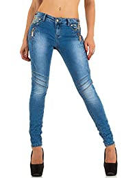 Schuhcity24 Damen Jeans Hose Jeanshose Damenjeans Destroyed Strass Nieten  Skinny Röhre Röhrenjeans Bluejeans Blau d7d4556f94
