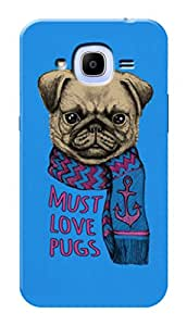 Samsung Galaxy J2 Pro 2016 Black Hard Printed Case Cover by Hachi - Must Love Pugs Design