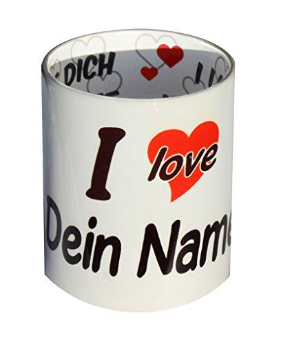 I love Tasse Annika Kaffeetasse mit Innendruck: Ich liebe dich, je t'aime, Volim te, ti amo