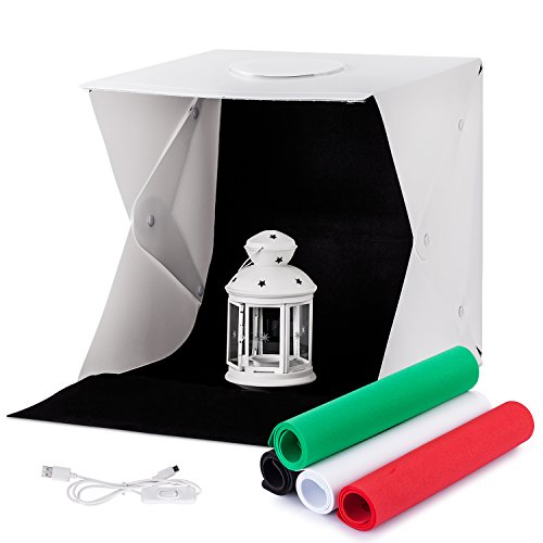 Mini fotostudio TREKOO,Lichtzelt mit Beleuchtung Set Dimmbare LED Leuchte Tragbare Studio Licht-box 40x40x40cm inkl 4 Farben-Hintergründe (Stoff-farben-licht 6)