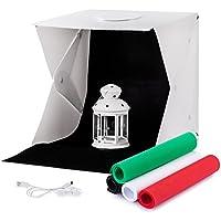 Mini fotostudio TREKOO,Lichtzelt mit Beleuchtung Set Dimmbare LED Leuchte Tragbare Studio Licht-box 40x40x40cm inkl 4 Farben-Hintergründe