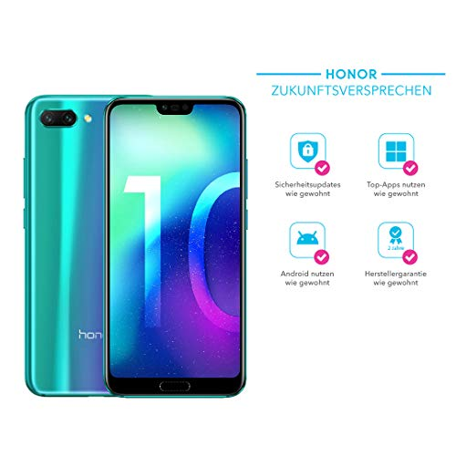 Tv-touchscreen Handy (Honor 10 Smartphone (14,83 cm (5,84 Zoll), 128GB interner Speicher, 4GB RAM, 24 MP + 16 MP Dual Kamera, 24 MP Frontkamera, Dual-SIM, LTE, Android 8.1, EMUI 8.1) Phantom Grün - Deutsche Version)