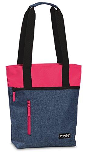 Tasche Shopper Tragetasche Umhängetasche auch Zusatztasche für Punta-Einkaufstrolley Melange Farben Jeans Blau mit Pink
