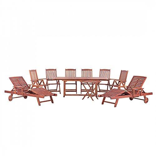 Holz Gartenmöbel Set - Gartentisch - 6x Stuhl - 2x Liegestuhl - 1x Teetisch - Holztisch - TOSCANA