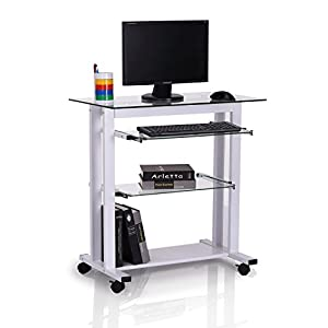HOMCOM Computer Workstation Laptop PC Desk Glass Writing Table Stand w/Wheels White