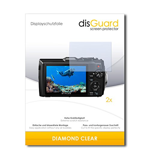 disGuard 2 x Displayschutzfolie Olympus Tough TG-4 Schutzfolie Folie DiamondClear unsichtbar
