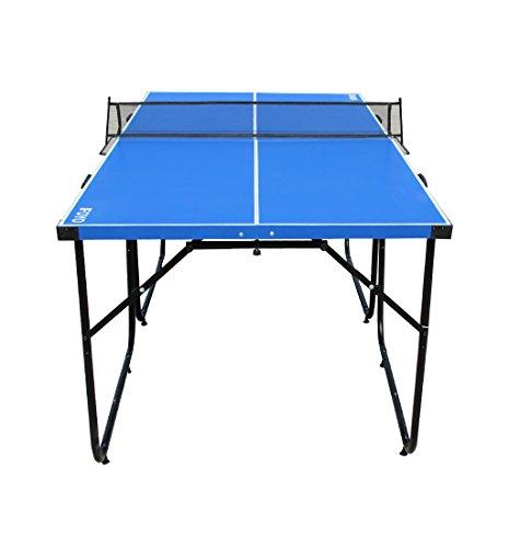 Ifoyo mittelgroße Tischtennisplatte, 1,83 m, 4-teilig faltbar und tragbar, für Drinnen und Draußen, für Erwachsene, blau.