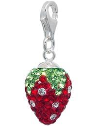 Melina Damen-Charm Anhänger Erdbeere Zirkonia 925 Sterling Silber 1801425