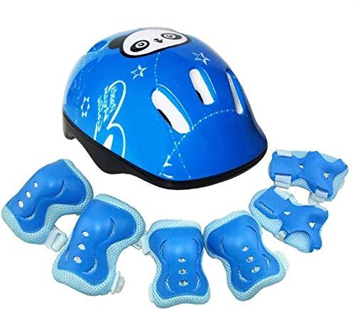 Helm Kinder Helm Protektoren Set, Schutzausrüstung, Skating Gleichgewicht Scooter Helm Knieschützer, Knieschützer 7 Sets (Color : Blue) -