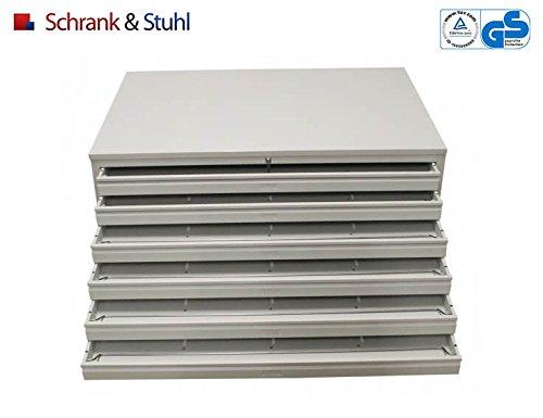Planschrank DIN-A0 | Flachablageschrank | 6 Schübe für A1 - GRAU