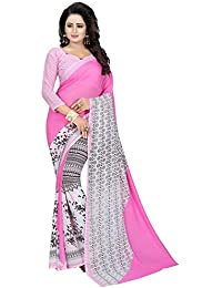Macube Women's Georgette Saree With Blouse Piece (Ms1485_Pink)