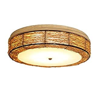 Lighting American Country Nordic Retro Ceiling Light Restaurant Personality Creative Bedroom Rattan B&B Tea Room Zen Light (Color : Large)