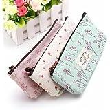 Rural Style Floral Pencil Pen Case Cosmetic Makeup Bag (BLUE)