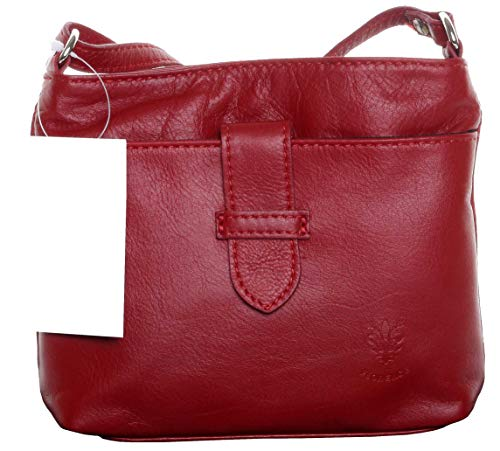 1d7989237bcf1 Primo Sacchi® Italian Soft Leather Hand Made Small Red Strap Fronted Triple  Compartment Adjustable Strap