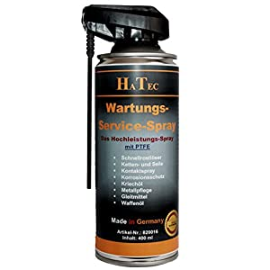 hatec Maintenance & Service Spray avec PTFE 400 ml, spray de contact, plastique spray d'entretien, multifonction, huile, 15150005 Produit anti-rouille, Service Spray, gunnex, Maintenance Spray pas cher