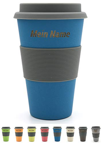 BambooYou Magu personalisierter Coffee to go Becher mit Namen Bambus Namensbecher - Individuelle Namensgravur- Lasergravur 465 - wasserblau