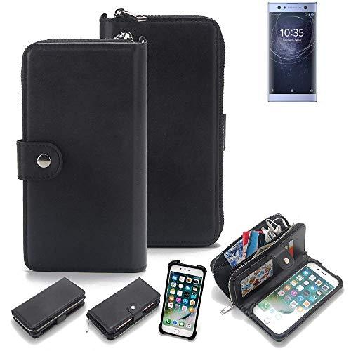 K-S-Trade 2in1 Handyhülle für Sony Xperia XA2 Ultra Dual-SIM Schutzhülle & Portemonnee Schutzhülle Tasche Handytasche Case Etui Geldbörse Wallet Bookstyle Hülle schwarz (1x)