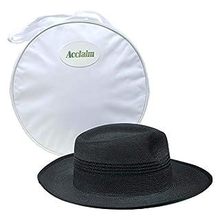 Acclaim Kalgoorlie International Cricket Umpires Hat With The Stay Put Headband & White Hat Carrying Bag (Black, Large (58-59cm))