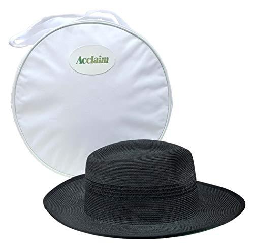 Acclaim Kalgoorlie International Cricket-Umpir-Hut mit Halteband und weißer Tragetasche, Schwarz, Medium (56-57cm)