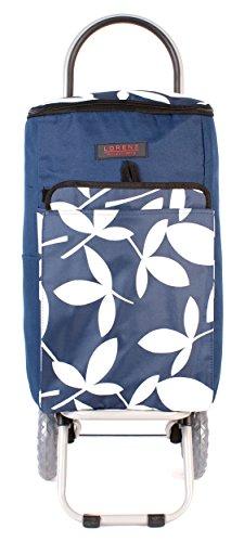 6959 fleurs d'été Bleu marine-Sac isotherme, isolation deux Chariot de courses pliable à roulettes