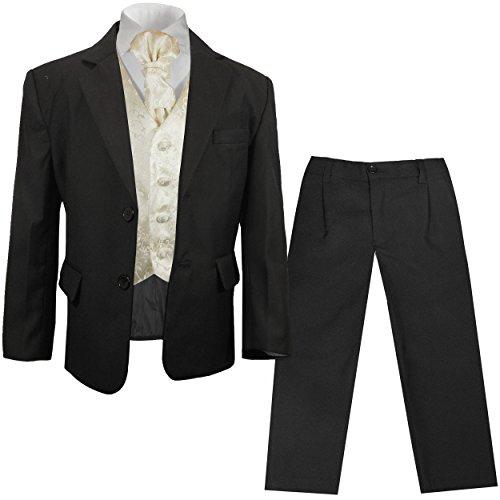Paul Malone festlicher Jungen Anzug (tailliert) schwarz mit festlichem Westenset Champagner geblümt -