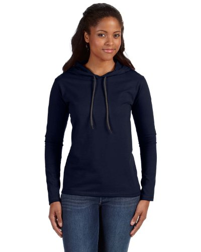 Anvil: Women`s Fashion Basic LS Hooded Tee 887L Navy