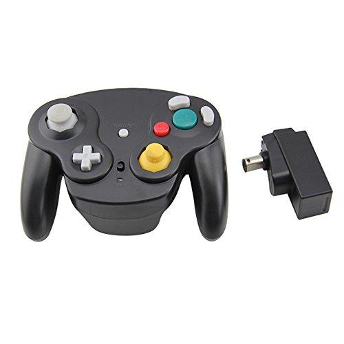 Mario Retro Wavebird Style Wireless Controller kompatibel für Gamecube Nintendo Wii, Schwarz -