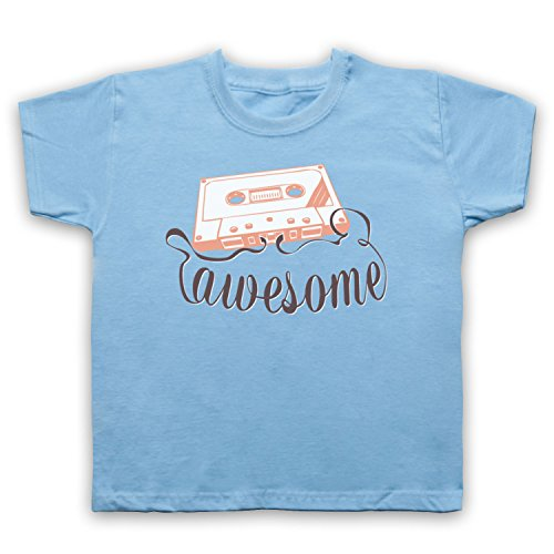My Icon Art & Clothing Cassette Tape Awesome Text Camiseta para Niños, Azul Cielo, 1-2 Años