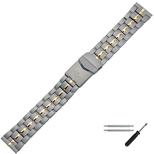 MARBURGER Uhrenarmband 20 mm Edelstahl Grau gold - Inkl. Zubehör - Ersatzarmband, Schließe Grau gold - 89608040020 (20mm Uhrenarmband Titan)