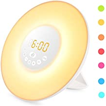 Cadrim Wake Up Light,Light Alarm Clock,Atmosphere Light,Dawn Fading Night Light,Beside Lamp,Morning wake up alarm clock with Sunrise & Sunset Simulation / Natural Sounds / FM Radio / Touch Control
