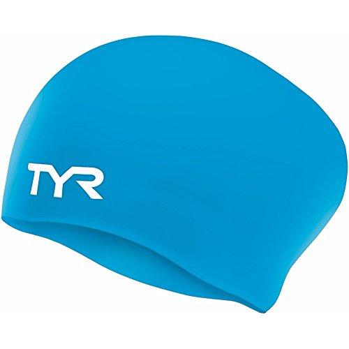 TYR Schwimmkappe, Silikon, für langes Haar, Blau