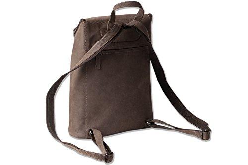 Woodland® – Rucksack aus weichem, naturbelassenem Büffelleder in Dunkelbraun/Taupe - 3