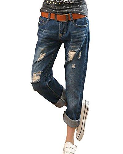 Damen Cropped Loose Fit Boyfriend Jeans Hose Jeanshosen Destroy Hosen Dunkelblau 30 (Shirt Boyfriend Fit)