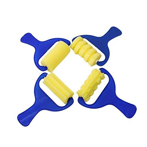 Ruiting Schwamm Farbroller Set Schaum Malpinsel Schwammrollen Maler Griff Kit Kleine Roller für Kinder DIY Art Supplies 4Stk Home Zubehör - Paint Roller Kit