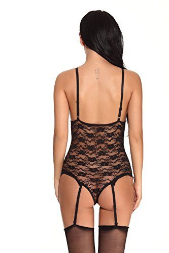 Truefeeling Donna Erotic Lace Suspender Tuta Esposta Tette aperte Intimo Mature Hot Ladies Adult Teddy Lingerie sexy Nero
