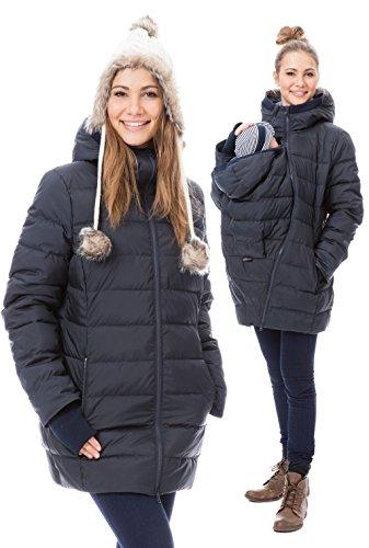 GoFuture Damen Tragejacke für Mama und Baby 4in1 Känguru Jacke Umstandsjacke Daunen Winter Noorvik GF2318XA5 Marine mit blauem Innenfutter - 4