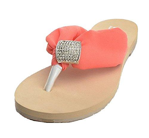 Dayiss®Elegant Damen Strass Chiffon Sandalen Sandaletten Flip Flops flache Zehntrenner Pantoletten Badeschuhe Hausschuhe Strandschuhe Orange