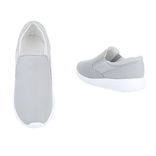 Low-Top Sneaker Damenschuhe Low-Top Sneakers Ital-Design Freizeitschuhe Hellgrau