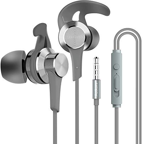 In Ear Kopfhörer, Autkors HiFi Stereo In Ear Ohrhörer mit Mikrofon, Lautstärkeregelung und Weichen Ohrstöpseln und -Haken - Kompatibel mit Smartphone, MP3 Players usw.