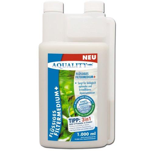 AQUALITY Flüssiges Aquarium Filtermedium+ (GRATIS Lieferung in DE - Kristallklares Aquariumwasser - Entfernt Schadstoffe - Besserer Pflanzenwuchs - Wasseraufbereiter - Wasseraufbereitung), Inhalt:1 Liter