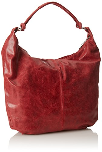 CTM Frauen Schultertasche, Tasche Leder, 45x35x4cm, echtes Leder 100% Made in Italy Rot (Rosso)