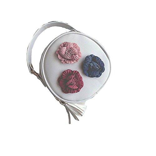 Longra Donna Borsa tridimensionale rotonda con fibbia singola Bianca Venta Barata En Línea XCZSf