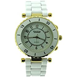 Fashionable brand ZaZa London Ladies Watch Nickel Free Plastic Strap Color White