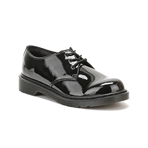 Dr Martens Everley Y Black Patent Youth Derby Shoes Schwarz