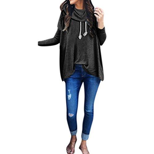 Damen Pullover,Honestyi Damen Sweatshirt Bow Neck Langarm Pullover Tops Bluse (M, Schwarz) (Detail Bow Mantel)